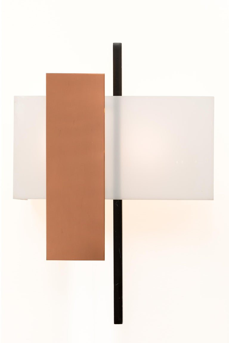 Mid-Century Modern BAG Turgi Copper and Perspex Sconces, Switzerland, 1960s For Sale