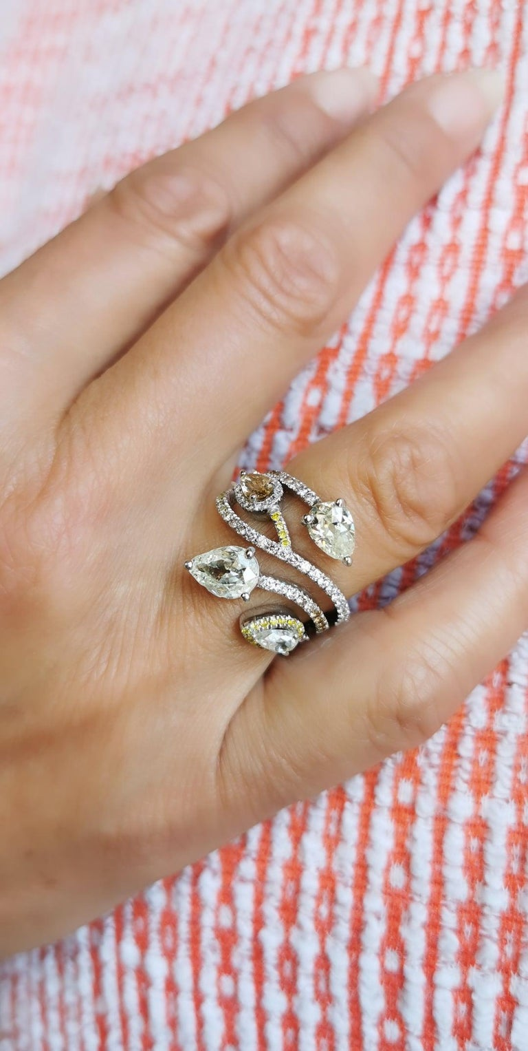 Pear Cut Bagatelle Diamonds Roses Ring in 18K White Gold Created by Marion Jeantet For Sale