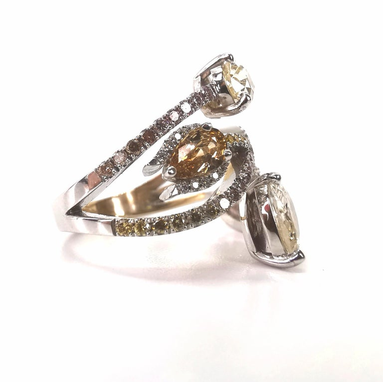 Pear Cut Bagatelle Roses Ring Created by Marion Jeantet For Sale
