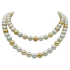 Baggins South Sea Multi Color Pearl Necklace in 18k Yellow Gold