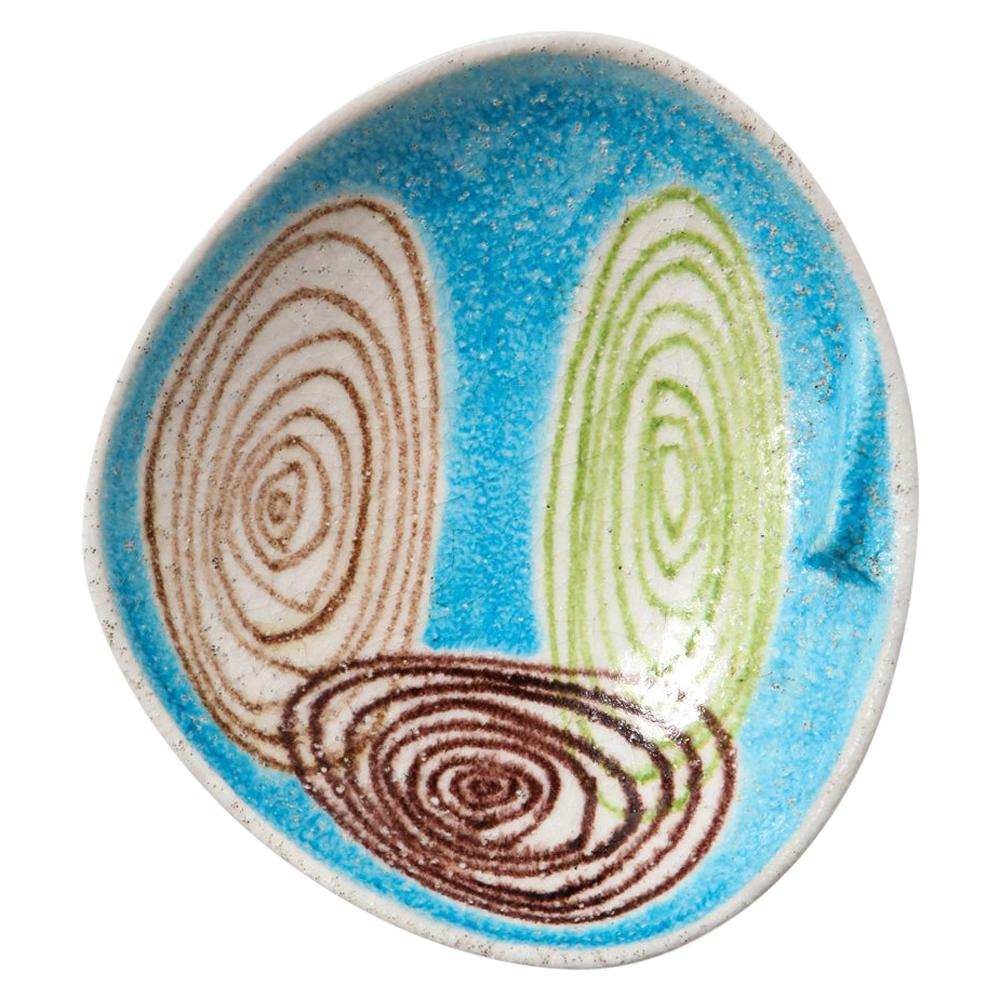 Bagni for Raymor Bowl, Ceramic, Abstract, Blue and Green, Signed