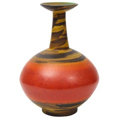 Bagni for Raymor Vase, Ceramic, Orange, Red, and Yellow, Signed