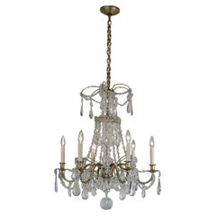 Bagues 1920s Crystal and Bronze Chandelier