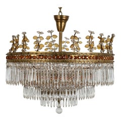 Bagues Crystal Brass Chandelier, One of Two