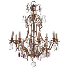 Bagues Gilt Bronze and Crystal Chandelier, French, circa 1950