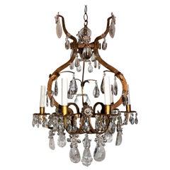 Baguès Gold Gilt Rock Crystal Chandelier Mid-Century Modern Light Flower Fixture