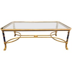 Baguès Hollywood Glass Top Coffee Table Two-Tone Patinated Bronze & Gilded Legs