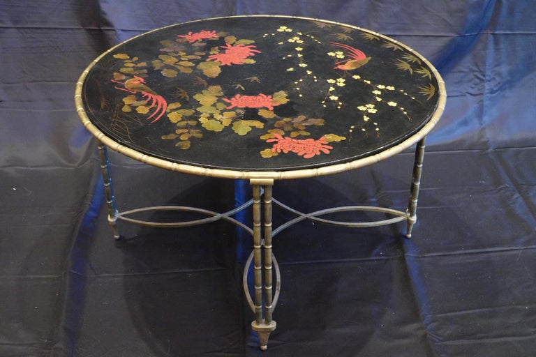 French Baguès Japanned Top Cocktail Table with Birds and Peonies For Sale