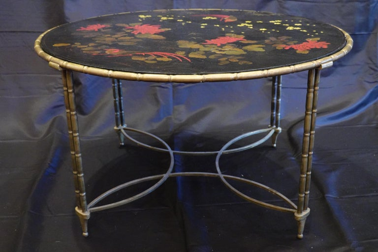 Lacquered Baguès Japanned Top Cocktail Table with Birds and Peonies For Sale