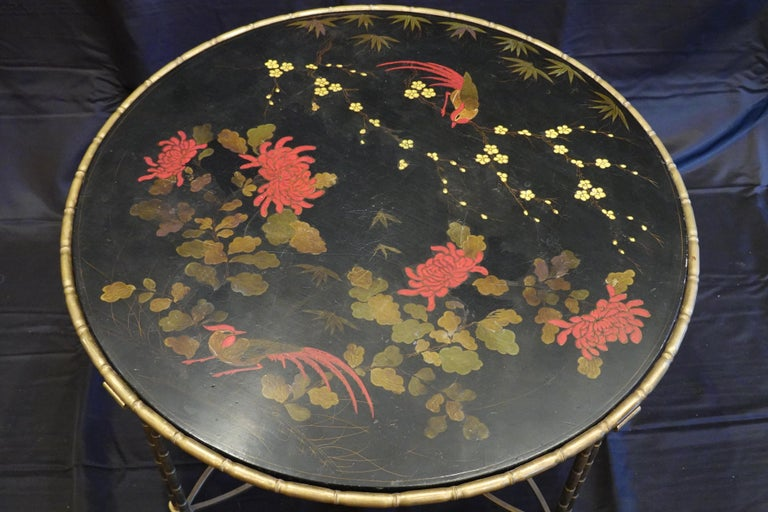 Baguès Japanned Top Cocktail Table with Birds and Peonies In Good Condition For Sale In Charleston, SC