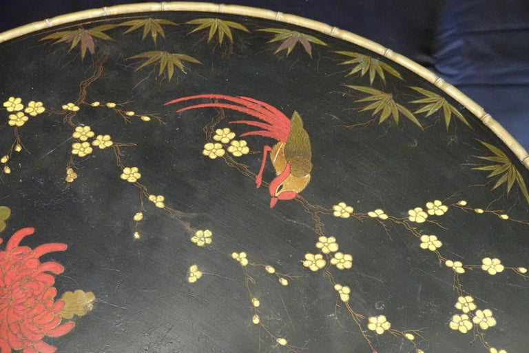 20th Century Baguès Japanned Top Cocktail Table with Birds and Peonies For Sale