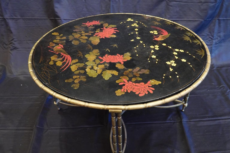Bronze Baguès Japanned Top Cocktail Table with Birds and Peonies For Sale