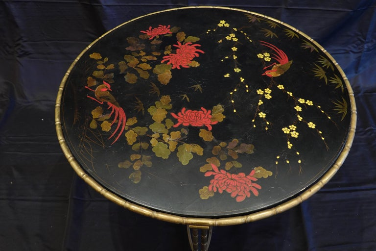 Baguès Japanned Top Cocktail Table with Birds and Peonies For Sale 1