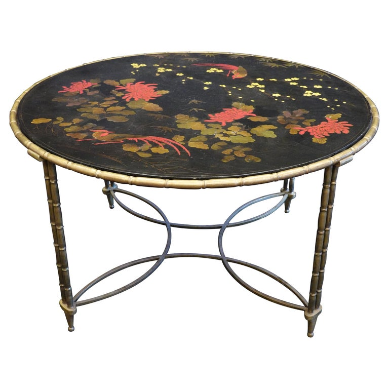 Baguès Japanned Top Cocktail Table with Birds and Peonies For Sale
