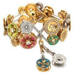 Bagues Masriera 18KT Gold, 3.85Ct, Diamond and Enamel Bilboquet Bracelet