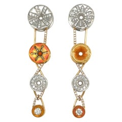 Bagues Masriera 18KT Yellow & White Gold 0.93Ct Diamond and Enamel Earrings