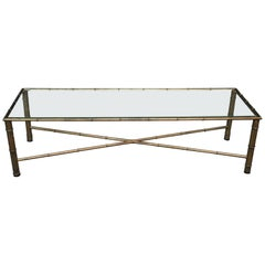 Baguès Style Faux Bamboo Brass and Glass Top Coffee Table