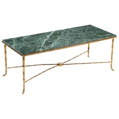Baguès Style Gilt Bronze Coffee Table with a Vert Maurin Marble Top, circa 1950