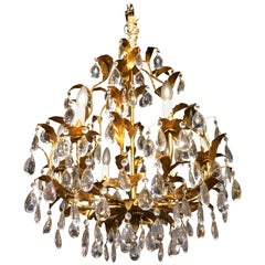 Bagues Style Gilt Metal Crystal Chandelier