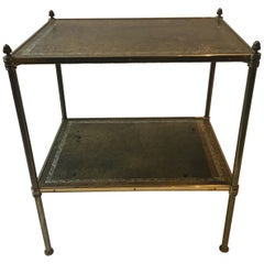 Baguès Style Two Tier Leather and Brass Side Table