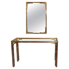 Bagues Style Vintage Bamboo Brass Console and Mirror