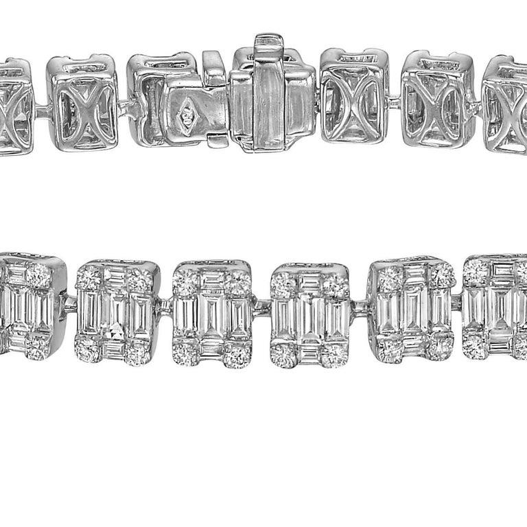 Baguette And Round Cut Diamond Bracelet 9 Carat At 1stdibs