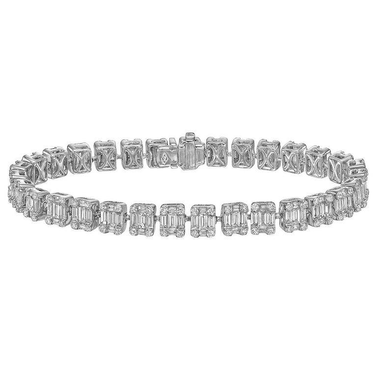 Baguette and Round-Cut Diamond Bracelet '9 Carat'