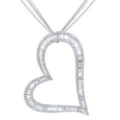 Baguette and Diamond Large Size Heart Shape Pendant