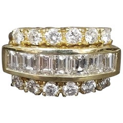 Baguette and Round 3-Row Diamond Wedding Ring