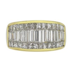 Baguette and Round Brilliant Diamond Wide Ring