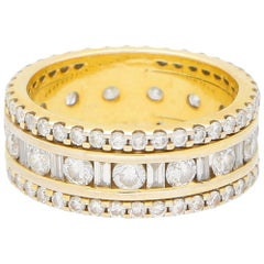 Baguette and Round Cut Diamond Full Eternity Set in 18 Karat Yellow Gold
