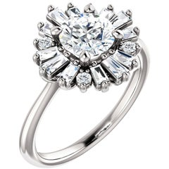 Baguette and Round Diamond Accented Halo Style GIA Certified Engagement Ring