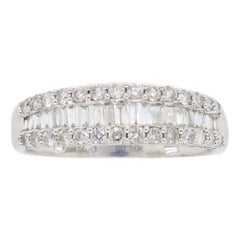 Baguette and Round Diamond Band Ring in 18 Karat White Gold