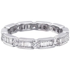 Baguette and Round Diamond Eternity Band '0.50 Carat'