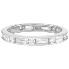 Baguette and Round Diamond Eternity Band '1.75 Carat'
