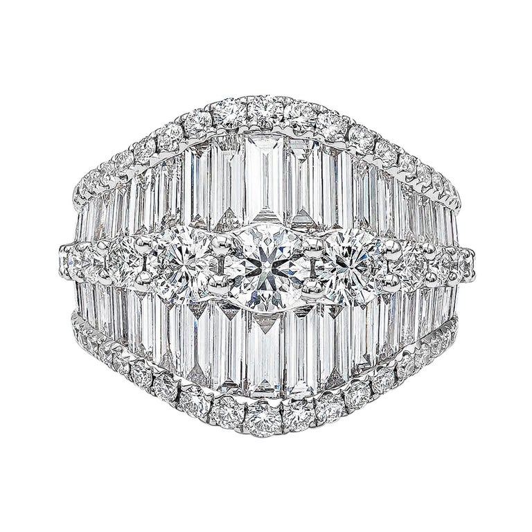 Baguette and Round Diamond Fashion Ring For Sale