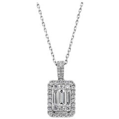 Baguette and Round Diamond Halo Pendant Necklace