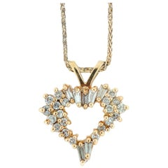Baguette and Round Diamond Heart Pendant .70 Carat with Gold Chain, Expression