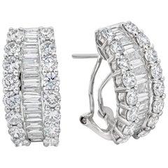 Baguette and Round Diamond Hoop Earrings