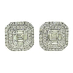 Baguette and Round Diamond Optical Illusion Halo White Gold Studs