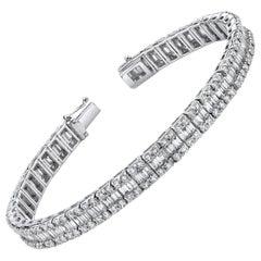Baguette and Round Diamond, White Gold Tennis Bracelet, 7.29 Carat Total