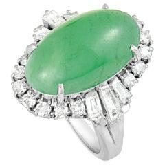 Baguette and Round Diamonds Jade Platinum Dome Ring