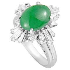 Baguette and Round Diamonds Oval Jade Platinum Ring