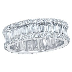 Baguette and Round Eternity Ring 18 Karat White