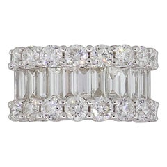 Baguette and Round Shape Diamond Wide Band