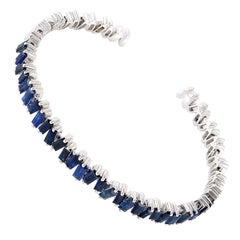 Baguette Blue Sapphire 18 Karat Gold Bangle Bracelet