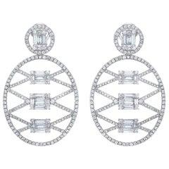 Baguette & Brilliant Cut 18 Karat Oval Lattice Style Large Diamond Drop Earrings