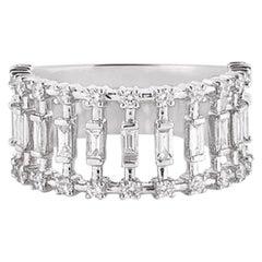 Baguette Cage Diamond Ring in 18 Karat White Gold