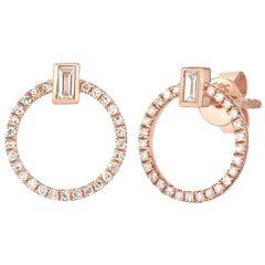Baguette Circle Stud Earrings, Gold, Ben Dannie