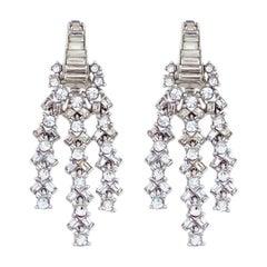 Baguette Crystal Firecracker Cocktail Earrings By Ciner, 1950s
